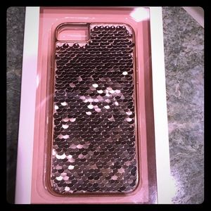 Anthropologie Pink/Reverse Sequin phone case. NWT